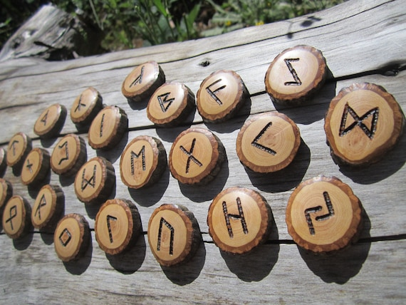 RESERVED FOR GREGORY Handcarved Wood Runes