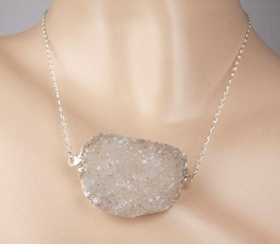 Creamy White Druzy Necklace Large Off White Druzy Crystal Choker Necklace Bold Druzy  Beach Wedding