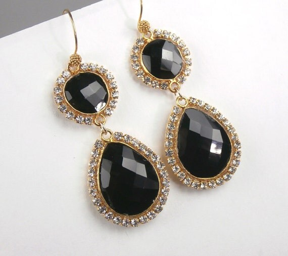 RESERVED  for K - SALE - Black Gemstone Earrings Swarovski Diamond Bezel Connectors Black Double Dangle Earrings