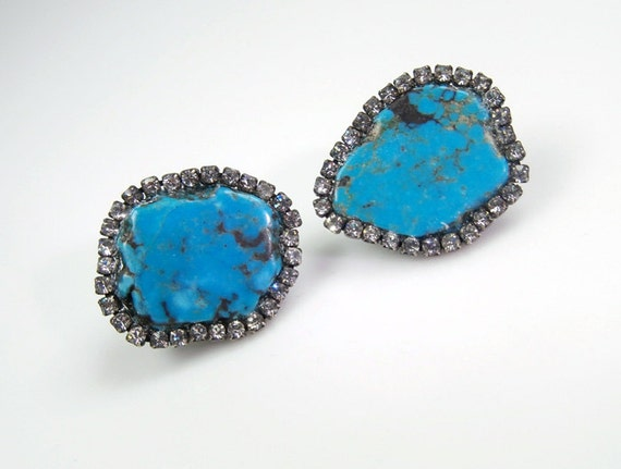 Turquoise Earrings Gemstone Diamond Bezel Style Earrings Slice Swarovski Crystal Statement Post or Clip On Earrings - Chat Noire