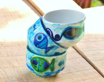 Hand Painted Decorative Porcelain Bowl , Original Blue Green Fish Pattern , Hand Painted Spice Cups