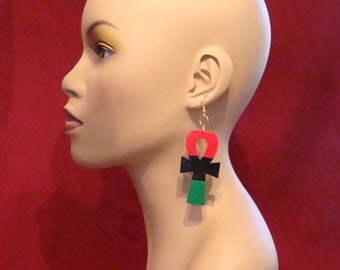 Three Inch Red Black and Green Ankh Earrings