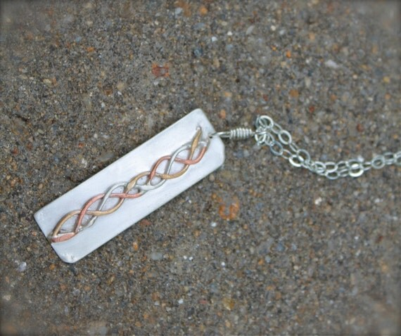 Sterling Silver, copper, Gold filled Braid on Long Silver. Mixed metal necklace. Long pendant. Ooak. braided