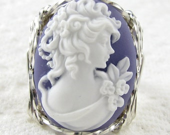 Grecian Goddess Cameo Ring Sterling Silver Custom Jewelry