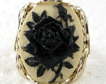 Black Rose Cameo Ring 14K Yellow Rolled Gold Custom Jewelry