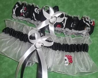 Handmade wedding garters keepsake and toss SKULL/DEAD HEAD/Pirate theme wedding garter set