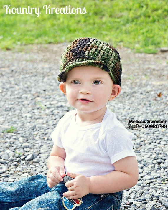 Crochet Camo Hat/ Boy Camo Hat/My LITTLE HUNTERS CAMO Baby Hat (Ready to Ship)
