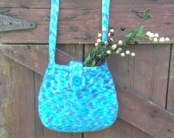 Wool felted bag hand knit teal and deep violet