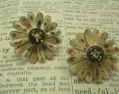 Speckled Enamel Flower Earrings Clip on Black red yellow white