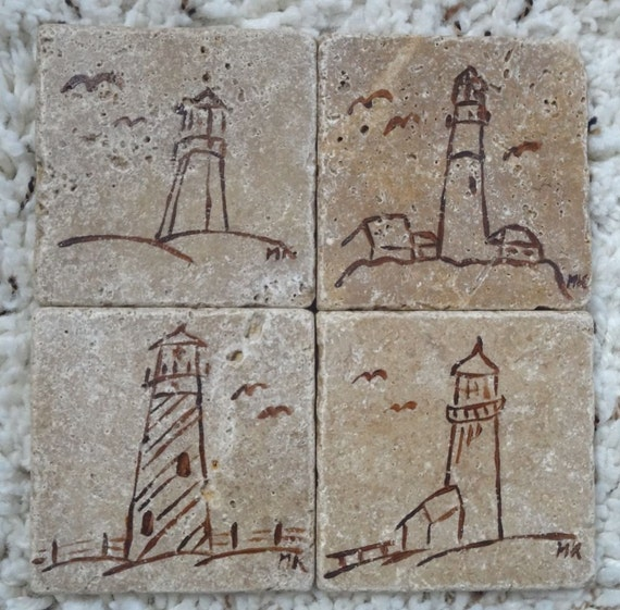 Natural Travertine Tile Coasters - Noce - Lighthouses