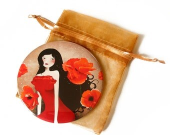 Orange Poppies - Pocket Mirror