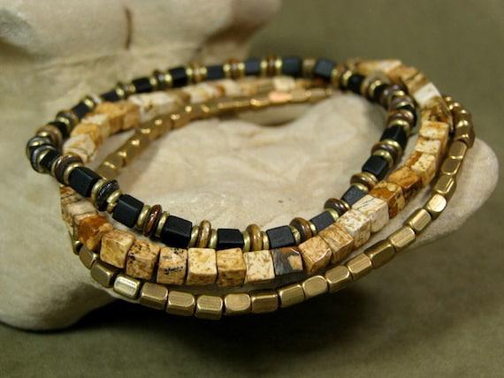 Mens Bracelet - Mens Jewelry - Stretch Bracelet - Black  Bracelet - Brass Gold - Gemstone Bracelet