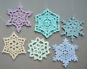 6 Multicolored Snowflakes -- Large Crochet Snowflake Assortment C2