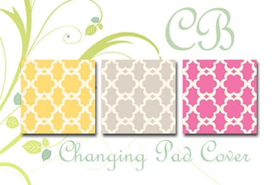 Custom Changing Pad Cover - Tarika - Yellow, Gray or Fuchsia by Cottage Belles