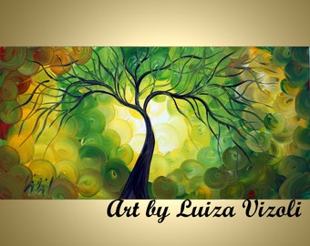 Original Painting Embellished Giclee Canvas Print Tree Landscape Whimsical Colorful Fine Art by Luiza Vizoli SPRING LIGHTS 48x24