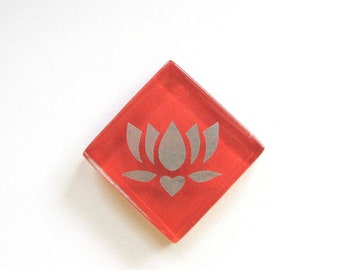 Lotus Silver Etched Glass Magnet Red MosaicTile The Lotus - Butterfly Project