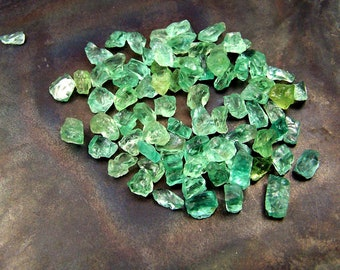 Green  Apatite - crystals - naturally formed - wire wrapping stones - light green  - apatite - raw rough - 1 gram 5 carats random selection