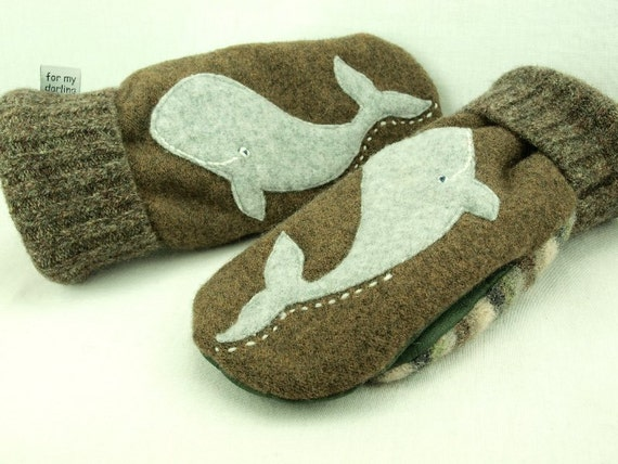 Felt Mittens Whale Recycled Mittens Fleece Lined Mittens Moss Green Grey Whale Applique Leather Palm Eco Friendly Size M