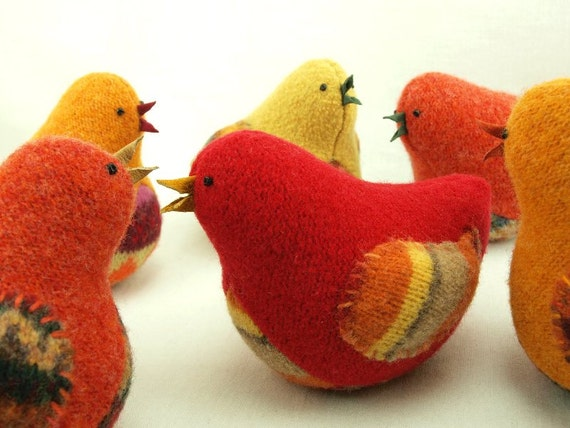 Felt Bird Ornament Eco Friendly Home Decor Bird in Harvest Colors Red and Orange Bird Felted Wool  Lamb Wool Stuffing RESERVED FOR LISA
