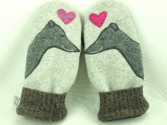 Whippet Mittens Felted Wool Greyhound Mittens Eco Friendly Mittens Grey and Pink Fleece Lining Suede Palm Eco Friendly