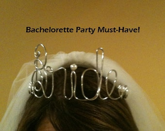 Bride Tiara Crown Bachelorette Party Gift  Headband BRIDE DIY Wire Bride hanger  Bride to Be  FUNKY and FuN Shower Gift