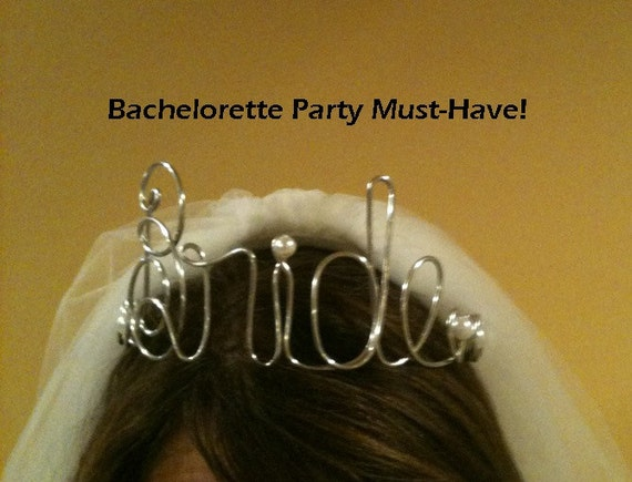 BRIDE Wire Tiara Crown  DIY Bride  hanger Whimsical Crown Bachelorette Party Bride to Be  FUNKY and FuN Shower Gift