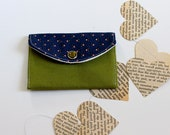 Small Wallet - Credit Card Wallet -  Lime Green and Navy