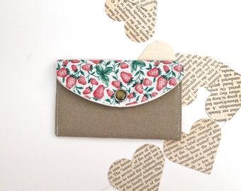 Mini Card Wallet - Fabric Womens Wallet - Tan Khaki Pink and Green Strawberries