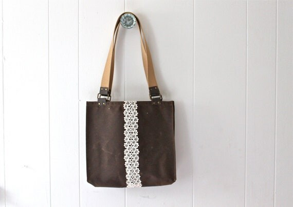 Elegant Waxed Canvas Bag Messenger Bag Tote Diaper Bag Leather