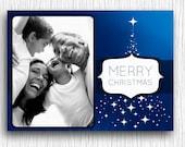 Printable Photo Christmas Card - Blue Stars