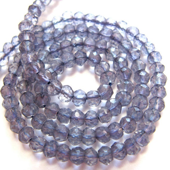 Tanzanite Micro Faceted 3.5MM Rondells -  34 Stones - 3.5 Inch Strand - Gemstone Bead
