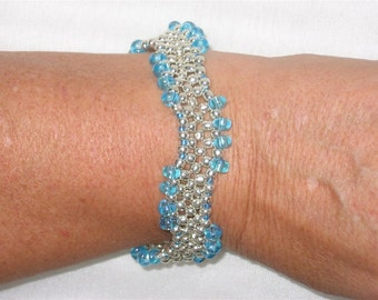 Turquoise and Silver Seed Bead Bracelet - 1281
