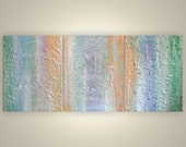 abstract original painting thick paint textured shabby chic pastel beach shore abstract painting 14 x 33