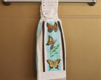 Butterfly Collage with Stripes Crocheted Top Towel-KOW115