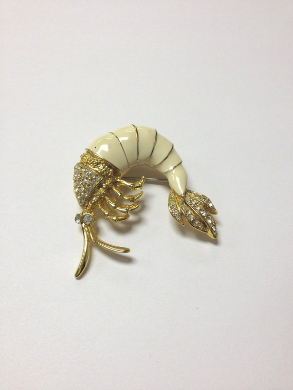 Adorable rhinestone and enamel vintage prawn brooch 60s 70s whimsical