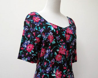 Early 90s flower print rayon short sleeve romper dress from Express