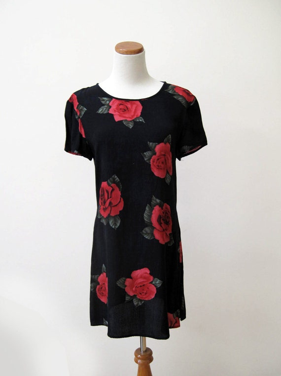 90s rose print on black rayon dress by N C Love