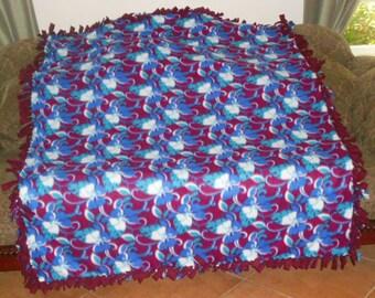 Dark Blue Turquoise White Hawaiian Flowers on Burgundy Burgundy Back 60x72 Fleece Tie Blanket No Sew Fleece Blanket
