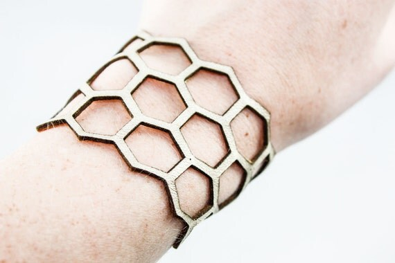 Honeycomb Cuff (Gold Leather)