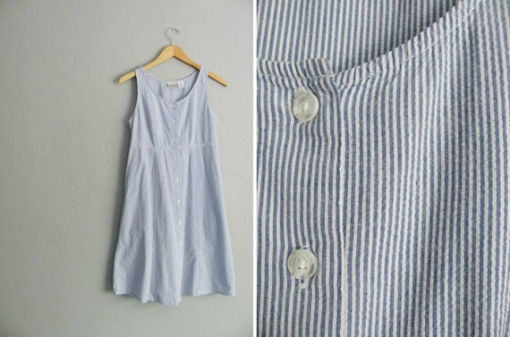 vintage '90s blue & white PINSTRIPED SEERSUCKER button-front midi SUMMER dress. size xs s.