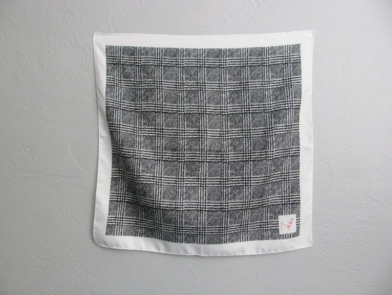 vintage black & white ABSTRACT GRID square scarf.