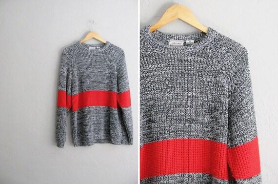 vintage UNISEX '80s black & white MARLED knit sweater with RED stripe. size men's m l / women's l xl 1x.