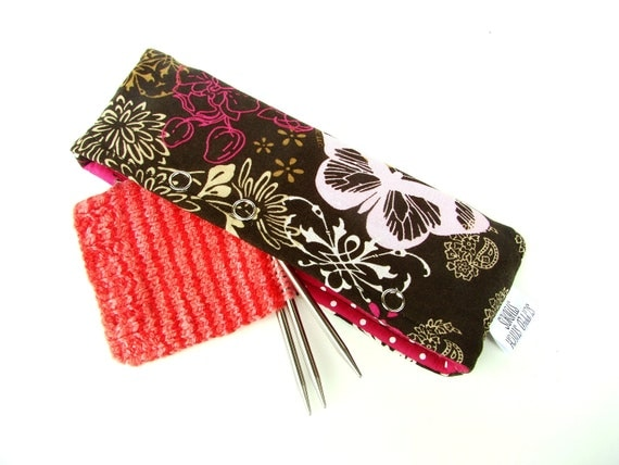 Stitch Holder Point Protector Zipper Pouch Needle Nook  - DPN & Circular Project Holder - Electric Butterfly