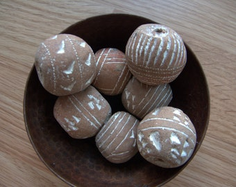 Large Handmade Clay Beads from Africa