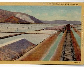 Salt Lake City Salt Beds Vintage Linen Postcard 1930's