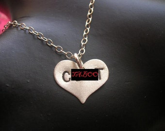 Feminist Jewelry, Explicit, Vulgar, Heart Charm Necklace, Rihanna Necklace, Sterling Silver Heart Necklace, Silver Pendant, Mature, Whore