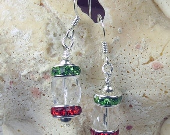 Red and Green crystal earrings with clear barrel crystal dangle for Holidays and Christmas