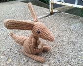 Crochet  Kangaroo and Joey stuffed animal toy