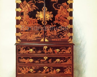 Vintage Print of Edwardian Furniture -  Lacquer Cabinet- 1905 Large Antique Chromolithograph on English Furniture - Home Decor