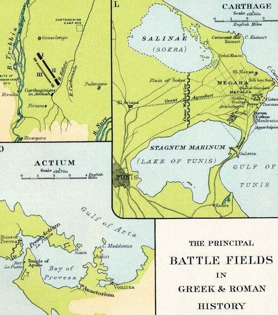 1904 Historical Antique Map of Principal Battlefields in Greek and Roman History